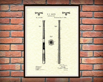 Patent 1885 Spalding Baseball Bat Print - Poster - Sports - Wall Art - MLB Wall Art -