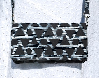 iPhone X, 8/8Plus Android Cell Phone Purse Cross Body Shoulder Bags Zipper Pocket Batik Black White Triangles
