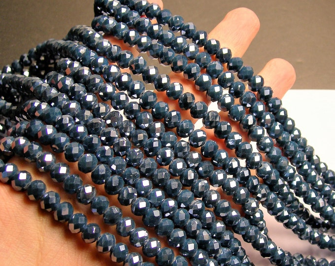 Crystal faceted rondelle - 71 pcs - 8 mm - AA quality - full strand - Blue - GSH63