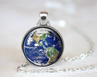 Planet Earth Galaxy Glass Pendant, Photo Glass Necklace, Glass Keychain, Glass Jewelry