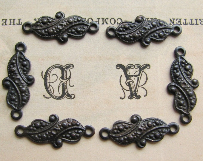 12mm mini paisley link - antiqued black brass (6 links) blackened patina, tiny small link, Fallen Angel Brass, traditional pattern