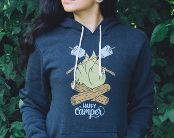 Happy Camper Vintage Adult Hoodie. Unisex Fit Black Triblend Sweatshirt with campfire. Celebrates Wilderness and Camping.
