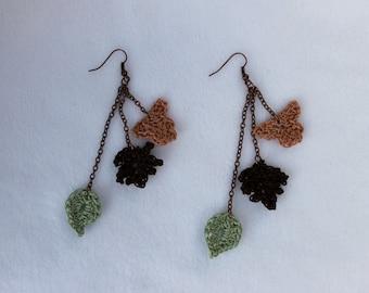Crochet Leaves Dangle Earrings, Fall Earrings, Autumn Leaves Earrings, Crocheted Fashion Jewelry, Fall Fashion, Fall Fashion Jewelry