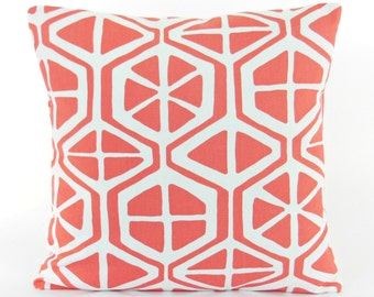 Coral Throw Pillow Cushion Covers ALL SIZES Coral White Couch Pillow Bed Shams Accent Pillow Decorative Pillow Aiden Coral Geometric Pillow