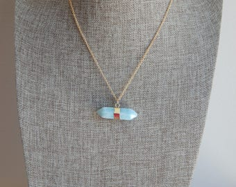 Amazonite necklace with gold plated chain, boho necklace, beach chic, layering gold necklace, horizontal pendant, summer jewelry