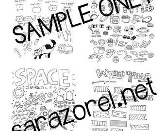 Doodle with Me : Printables (Set B - Cats, Space, Washi Tape, Food, Hearts and Stars)