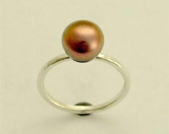 Black Pearl Ring, bronze pearl ring, fresh water pearl ring, single pearl ring, statement ring - Young love R1533-2
