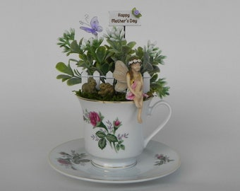 Fairy Garden Tea Cup, miniature garden, artificial flowers, fairy, bunnies, pre-made NOT DIY, Mother's Day gift