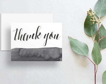 Instant Download Watercolor Calligraphy Thank You Cards / Dark Charcoal Gray Watercolor / Digital Print-at-Home Thank You Card