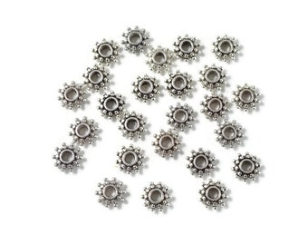 Antique Silver Large Hole Flat Daisy Spacer Beads 50 pcs. Sunburst spacer with hole large enough for leather or paracord.