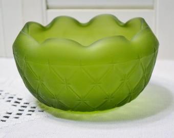 Vintage Green Satin Glass Bowl Diamond Quilt Pattern Candy Dish Collectible Glass PanchosPorch