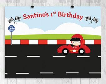 Racing Birthday Backdrop, PRINTED, Racing Birthday Banner, Racecar Birthday Backdrop, Photo Booth, Cake Table, Birthday Boy