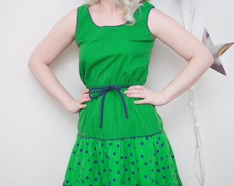 Vintage 1970s Green and Blue Polka Dot Sleeveless Patio Dress, Vintage Sun Dress, Square Dancing Dress, 70s patio dress, VLV, 70s Sun Dress