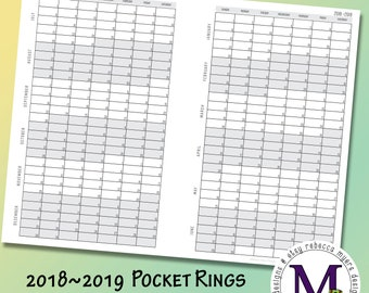 Pocket Rings Academic year 2018-2019  Fold Out, Year at a Glance