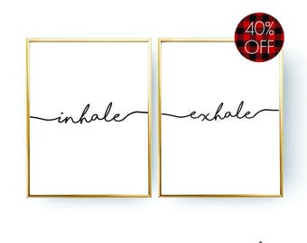 Inhale Exhale Printable Wall Art DIGITAL DOWNLOAD Inhale Exhale Print Yoga Wall Art Inhale Exhale Poster Yoga Studio Art Yoga Poster