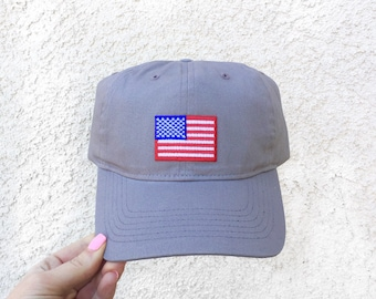 4th of July Dad Hat, American Flag Baseball Hat, Embroidered Patch Dad Hat, Gray Fourth of July Hat, 4th of July Hat, Baseball Hat, Dad Hat