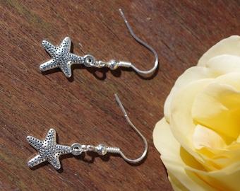 Starfish, Silver earrings