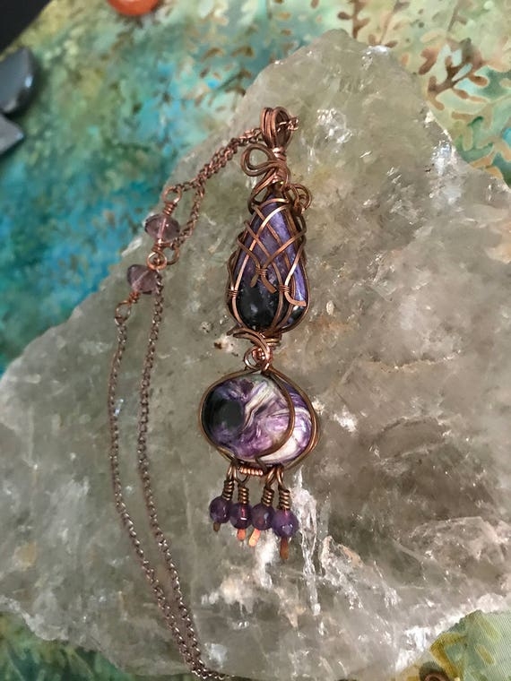 Stichtite Necklace, Copper Wire Woven double pendant Necklaces, Stichtite Jewelry