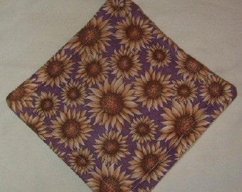 Hand Made Sunflower Pot Holder - Reversible