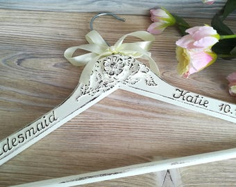 Bridesmaid  hanger Personalized gift Bridal name hanger Dress hanger wedding Bride  dress hanger Bridal party  gifts  Shabby chic hanger