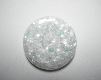 Large Vintage White Iridescent Sparkle 1950's Lucite Confetti Button