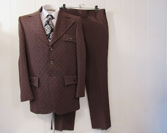 Vintage suit, 1970s suit, disco suit, retro suit, jacket and pants, vintage clothing, 38
