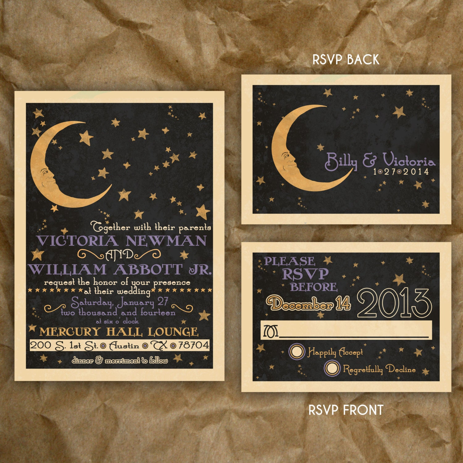 Paper Moon Celestial Wedding or Party Invitation // Vintage