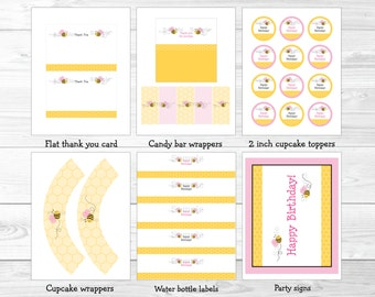 Pink Bumble Bee Birthday Party Package INSTANT DOWNLOAD A227