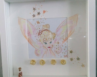 Table glass deep frame Tinkerbell and star dust