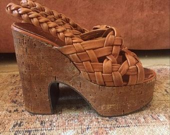 SH_017) Vintage leather braid Sandals Platform Cork Heel