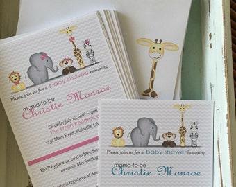 Customized jungle safari zoo animal baby shower Invitations and envelopes with a zebra, elephant, monkey, lion, and giraffe