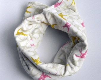 Pink and Gold Bird Infinity Scarf Drool Bib