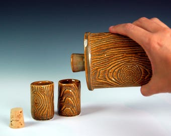 Pottery lumberjack shot glass, lumberjack whiskey glass, set of two, tequila, MorningWood, Lumbersexual, gift for him, beard accessories