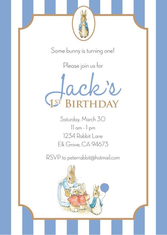 Peter Rabbit BIRTHDAY Invitation BOY Personalized