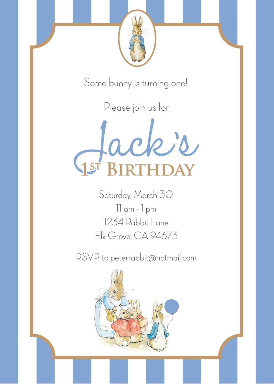 Unusual Peter Rabbit Birthday Invitations Gallery Invitation - Bunny birthday invitation template
