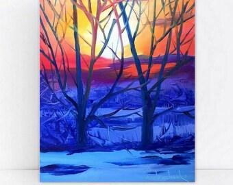 Sunset original oil painting landscape by Tetiana-  Home decor ,Kitchen décor