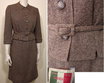 1950s Vintage Davidow Wool Suit in Brown Tweed SZ S SZ M