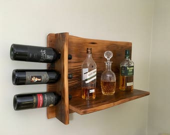 Bar Shelf with Wine Rack Reclaimed Wood