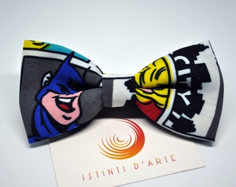 Handmade bow tie for men made up of colored comics fabric