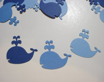Blue whale confetti, 100  cardstock punches for party decorations, scrapbook embellishments