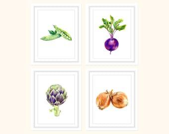 Vegetables Print Set of 4, Kitchen Wall Art, Kitchen Prints, Kitchen Decor, Food Prints, Vegetables Art, Vegetables Poster, Restaurant Decor