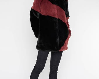 Faux fur coat - burgundy coat, winter coat, modern urban, urban outfit,