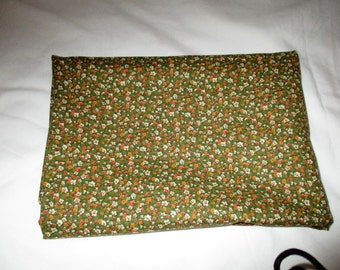 Small Print Floral Fabric Olive Green with Whie Orange Floral Motif  Cotton Percale for Quilting Sewing Crafting Girl's Material 1 1/2 Yards