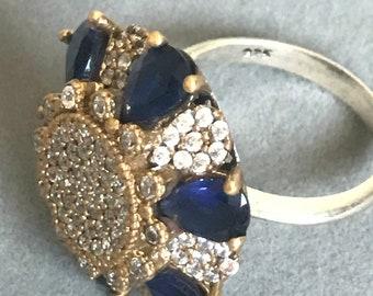 Sterling silver sapphire & topaz ring