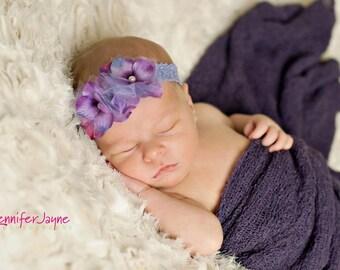 baby headband, small flower headband, purple headband