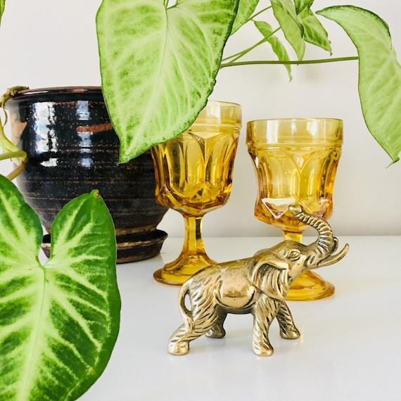 Vintage Brass Elephant Statue Brass Figurine Elephant Sculpture Paperweight Boho Decor