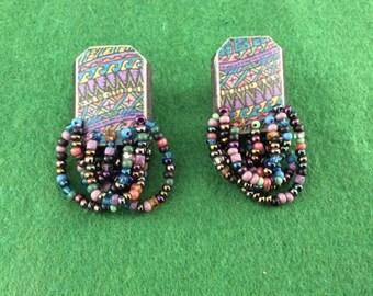 Indian design bead pierced earrings