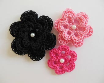 Crocheted Flowers -  Pink and Black With a Pearl - Cotton Flowers - Crocheted Flower Appliques - Crocheted Flower Embellishments