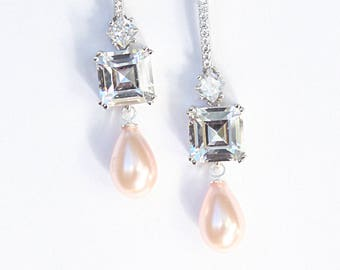 Asscher Cut Modern Minimalist Art Deco Cubic Zirconia Pearl Drop Earrings Perfect Gifts For Her