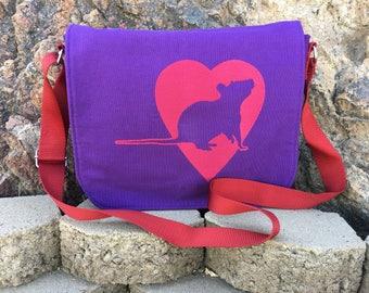 Mini Messenger Bag. Crossbody Bag. Crossbody Purse. Rat Queens Inspired. Rat Bag. Rat Purse. Rat Queens Bag. Rat Queens Purse. Vegan.